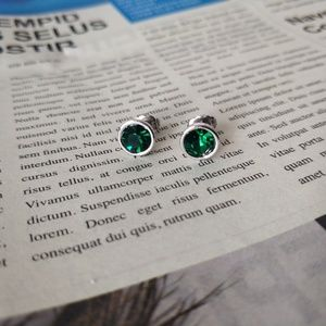 Lia Sophia Sliver Tone Dark Green Stud Earrings